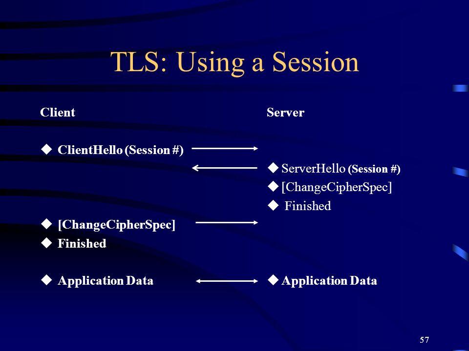 TLS: Using a Session Client ClientHello (Session #) [ChangeCipherSpec]